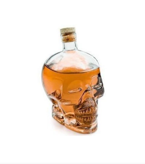 SKULL VODKA SHAPED LIQUOR GLASS BOTTLE