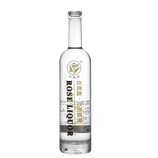 750ml clear decal glass bottle